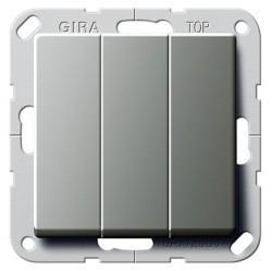 Переключатель 3-клавишный Gira E22, скрытый монтаж, стальной, 283220