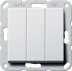 Переключатель 3-клавишный Gira SYSTEM 55, скрытый монтаж, алюминий, 283226
