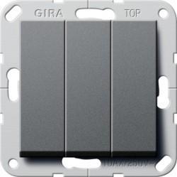 Переключатель 3-клавишный Gira SYSTEM 55, скрытый монтаж, антрацит, 283228