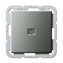 Выключатель 1-клавишный двухполюсный Gira E22, скрытый монтаж, стальной, 283420