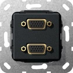 Розетка VGA Gira SYSTEM 55, черный, 565410