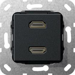 Розетка HDMI Gira SYSTEM 55, черный, 567110