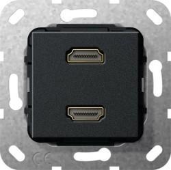 Розетка HDMI Gira SYSTEM 55, черный, 567210