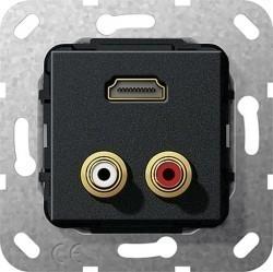 Розетка HDMI Gira SYSTEM 55, черный, 567310