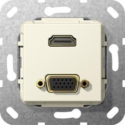 Розетка HDMI+VGA Gira SYSTEM 55, бежевый, 567701