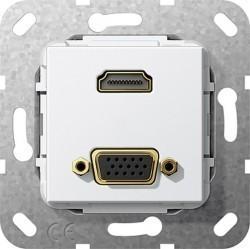Розетка HDMI+VGA Gira SYSTEM 55, белый, 567703