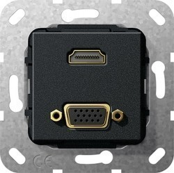 Розетка HDMI+VGA Gira SYSTEM 55, черный, 567710