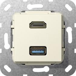 Розетка HDMI+USB Gira SYSTEM 55, бежевый, 567901