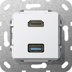 Розетка HDMI+USB Gira SYSTEM 55, белый, 567903