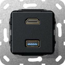 Розетка HDMI+USB Gira SYSTEM 55, черный, 567910