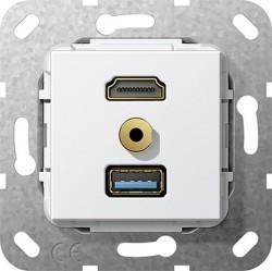 Розетка HDMI+USB+mini-jack Gira SYSTEM 55, белый, 568003