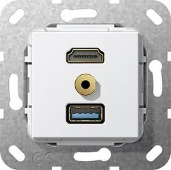 Розетка HDMI+USB+mini-jack Gira SYSTEM 55, белый, 568103