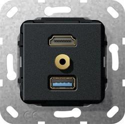Розетка HDMI+USB+mini-jack Gira SYSTEM 55, черный, 568110