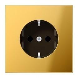 Розетка Jung LS METAL, скрытый монтаж, с заземлением, со шторками, золотой, GO1520KI