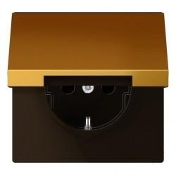 Розетка Jung LS METAL, скрытый монтаж, с заземлением, с крышкой, золотой, GO1520KL