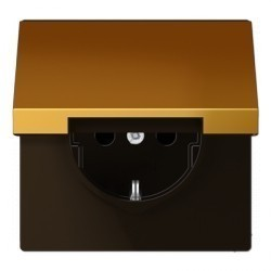 Розетка Jung LS METAL, скрытый монтаж, с заземлением, с крышкой, золотой, GO1521KL