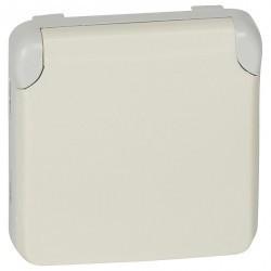 Розетка Legrand PLEXO 55, открытый монтаж, с заземлением, белый, 069640