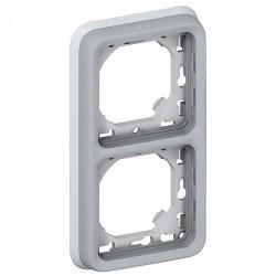 Рамка 2 поста Legrand PLEXO 55, вертикальная, серый, 069685