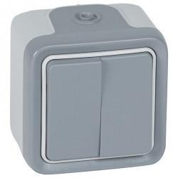 Переключатель 2-клавишный Legrand PLEXO 55, открытый монтаж, серый, 069715