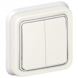 Переключатель 2-клавишный Legrand PLEXO 55, скрытый монтаж, белый, 069855