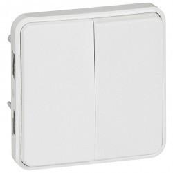 Переключатель 2-клавишный Legrand PLEXO 55, скрытый монтаж, белый, 070726
