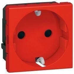 Розетка Legrand MOSAIC, скрытый монтаж, с заземлением, красный, 077218