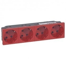 Розетка четырехместная Legrand MOSAIC, скрытый монтаж, с заземлением, красный, 077283