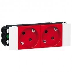 Розетка двухместная Legrand MOSAIC, скрытый монтаж, с заземлением, красный, 077422