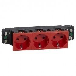 Розетка трехместная Legrand MOSAIC, скрытый монтаж, с заземлением, красный, 077423