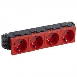 Розетка четырехместная Legrand MOSAIC, скрытый монтаж, с заземлением, красный, 077614