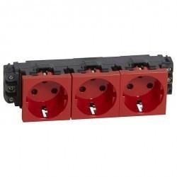 Розетка трехместная Legrand MOSAIC, скрытый монтаж, с заземлением, красный, 077623