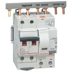 Дифавтомат Legrand DX³ 2P 10А (C) 10кА 30мА (AC), 411157