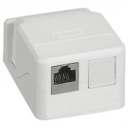Накладная монтажная коробка Mosaic для 1 или 2 разъемов RJ45 Keystone, белая