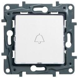 Выключатель 1-клавишный кнопочный Legrand QUTEO-ETIKA, с подсветкой, скрытый монтаж, белый, 672210