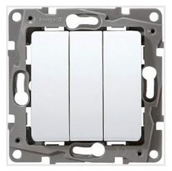 Выключатель 3-клавишный Legrand QUTEO-ETIKA, скрытый монтаж, белый, 672213