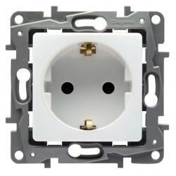 Розетка Legrand QUTEO-ETIKA, скрытый монтаж, с заземлением, со шторками, белый, 672231