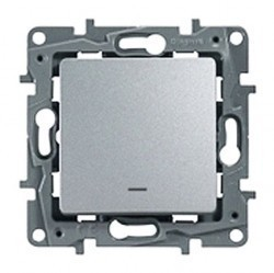 Выключатель 1-клавишный Legrand QUTEO-ETIKA, с подсветкой, скрытый монтаж, алюминий, 672403