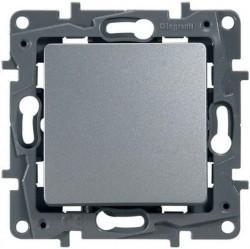 Переключатель 1-клавишный Legrand QUTEO-ETIKA, скрытый монтаж, алюминий, 672411