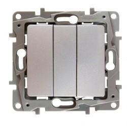 Выключатель 3-клавишный Legrand QUTEO-ETIKA, скрытый монтаж, алюминий, 672413