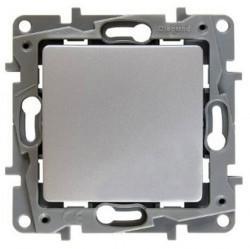 Выключатель 1-клавишный кнопочный Legrand QUTEO-ETIKA, скрытый монтаж, алюминий, 672414