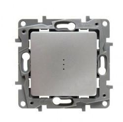 Переключатель 1-клавишный Legrand QUTEO-ETIKA, с подсветкой, скрытый монтаж, алюминий, 672415