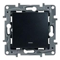 Выключатель 1-клавишный Legrand QUTEO-ETIKA, с подсветкой, скрытый монтаж, антрацит, 672603