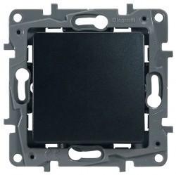 Выключатель 1-клавишный кнопочный Legrand QUTEO-ETIKA, скрытый монтаж, антрацит, 672614