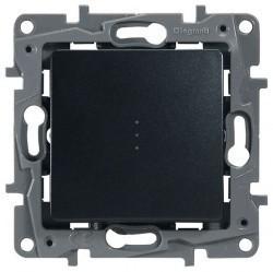Переключатель 1-клавишный Legrand QUTEO-ETIKA, с подсветкой, скрытый монтаж, антрацит, 672615