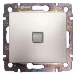 Выключатель 1-клавишный Legrand VALENA DIY, с подсветкой, скрытый монтаж, алюминий, 694340