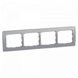 Рамка 4 поста Legrand GALEA LIFE DIY, горизонтальная, алюминий, 696854