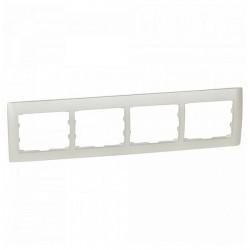 Рамка 4 поста Legrand GALEA LIFE DIY, горизонтальная, жемчужно-белый, 696994