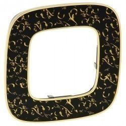 Рамка 1 пост Legrand VALENA ALLURE, черный с золотом, 754431