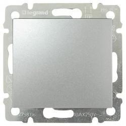 Выключатель одноклавишный Legrand VALENA CLASSIC, скрытый монтаж, алюминий, 770101