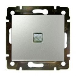 Выключатель 1-клавишный Legrand VALENA CLASSIC, с подсветкой, скрытый монтаж, алюминий, 770110